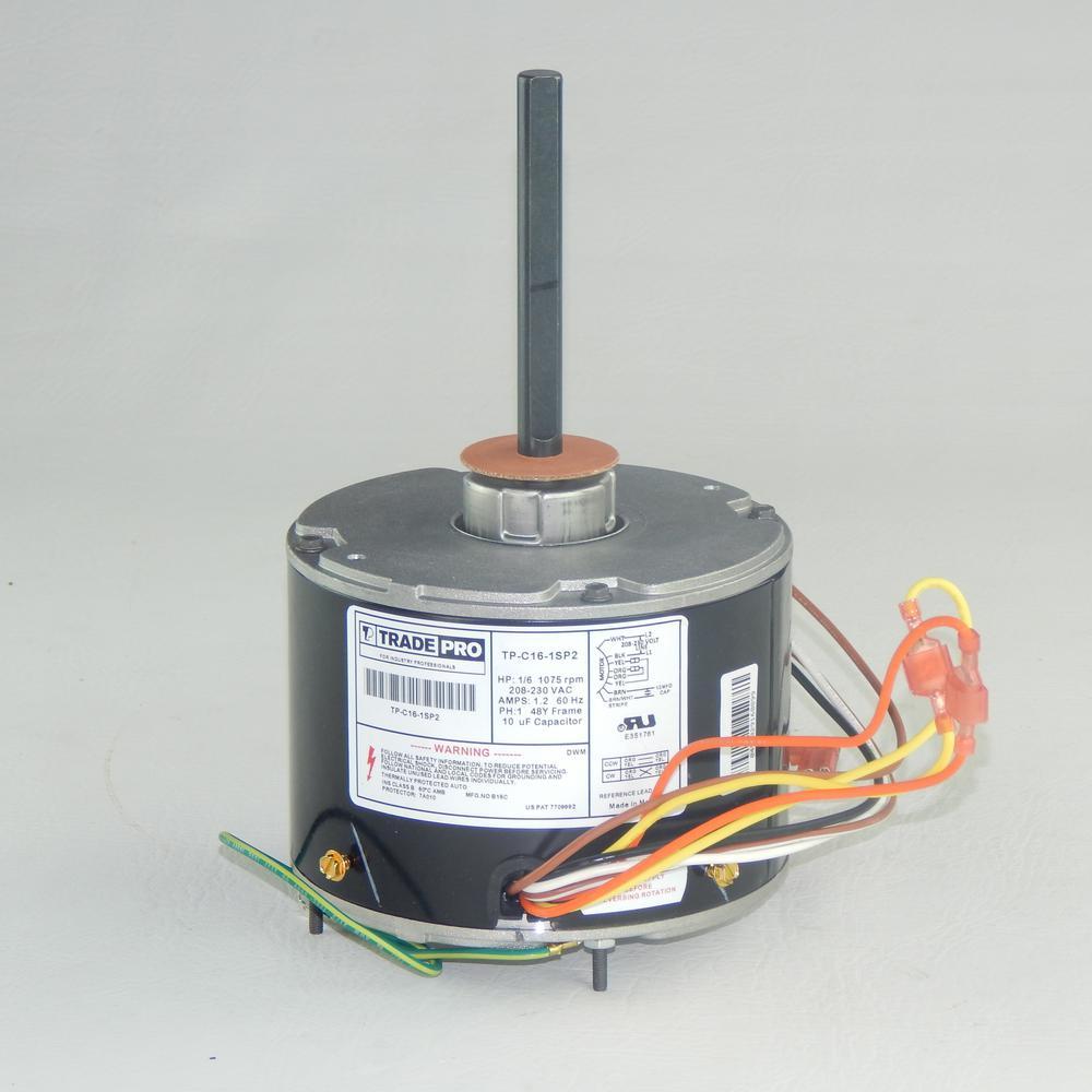 Replacement Condenser Fan Motor 1/6 HP Single Speed 1075 RPM 230-Volt