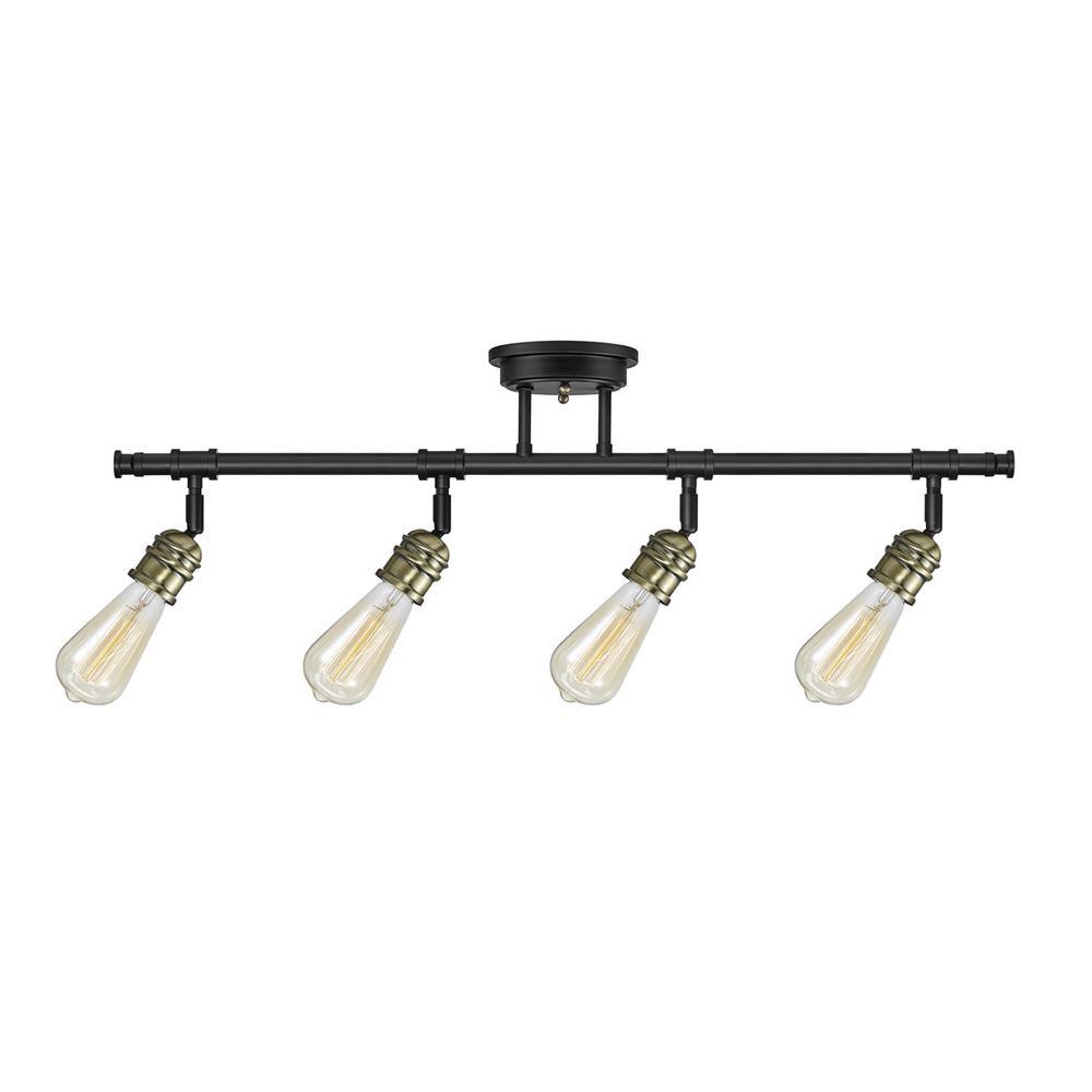 Rennes 30 in. 4-Light Dark Bronze Track Lighting Kit Bulbs Included