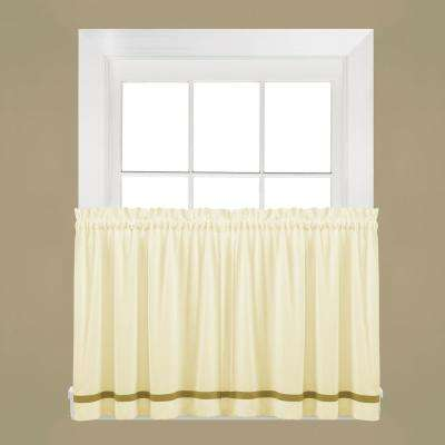 Semi-Opaque Kate 24 in. L Polyester Tier Curtain in Natural (2-Pack)
