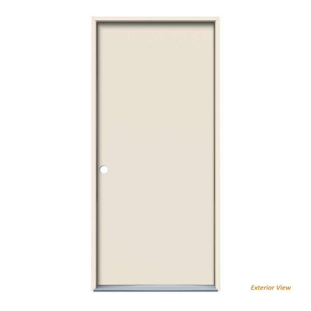 Jeld Wen 30 In X 80 In Flush Primed Steel Prehung Right Hand Inswing Front Door 900951 The Home Depot