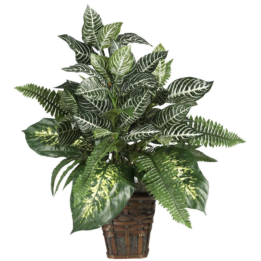 Mixed Greens Zebra with Wicker Silk Plant