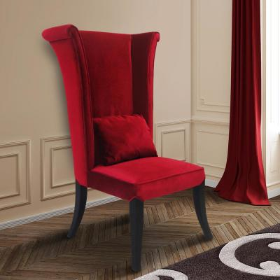 Mad Hatter 52 in. Red Velvet and Black Wood Finish Dining Chair