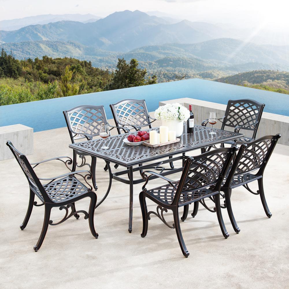 Luxurious Ornate Antique Copper 7-Piece Aluminium Rectangular Outdoor Dining Set