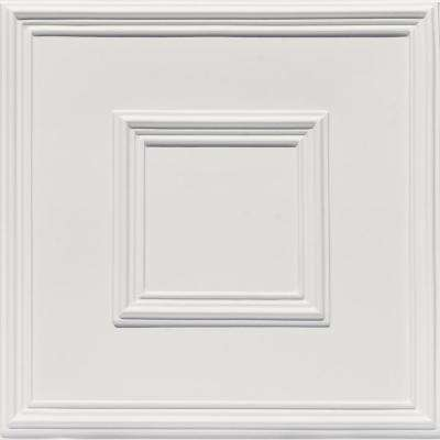 Town Square 2 ft. x 2 ft. PVC Glue-up or Lay-in Ceiling Tile in White Matte