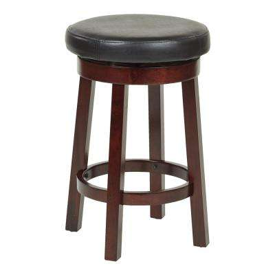 Metro 24 in. Black Faux Leather Round Barstool
