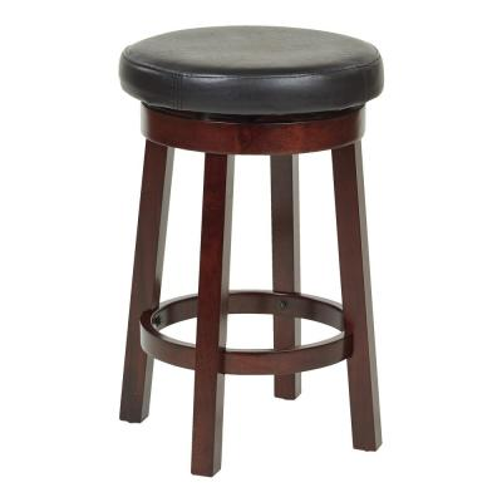 Metro 24 in. Round Black Faux Leather Bar stool wth Espresso Legs