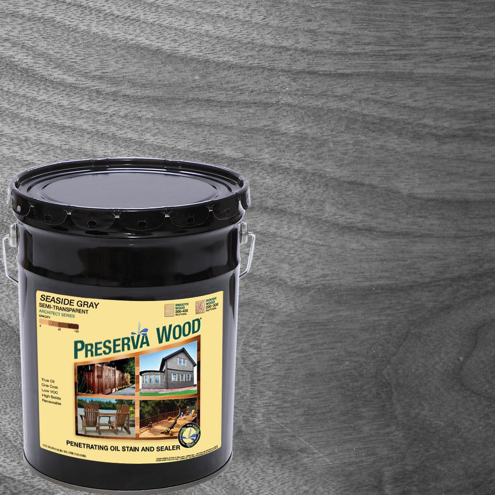 Exterior White Stain For Wood: Preserva Wood 5 Gal. Seaside Gray Semi-Transparent Oil