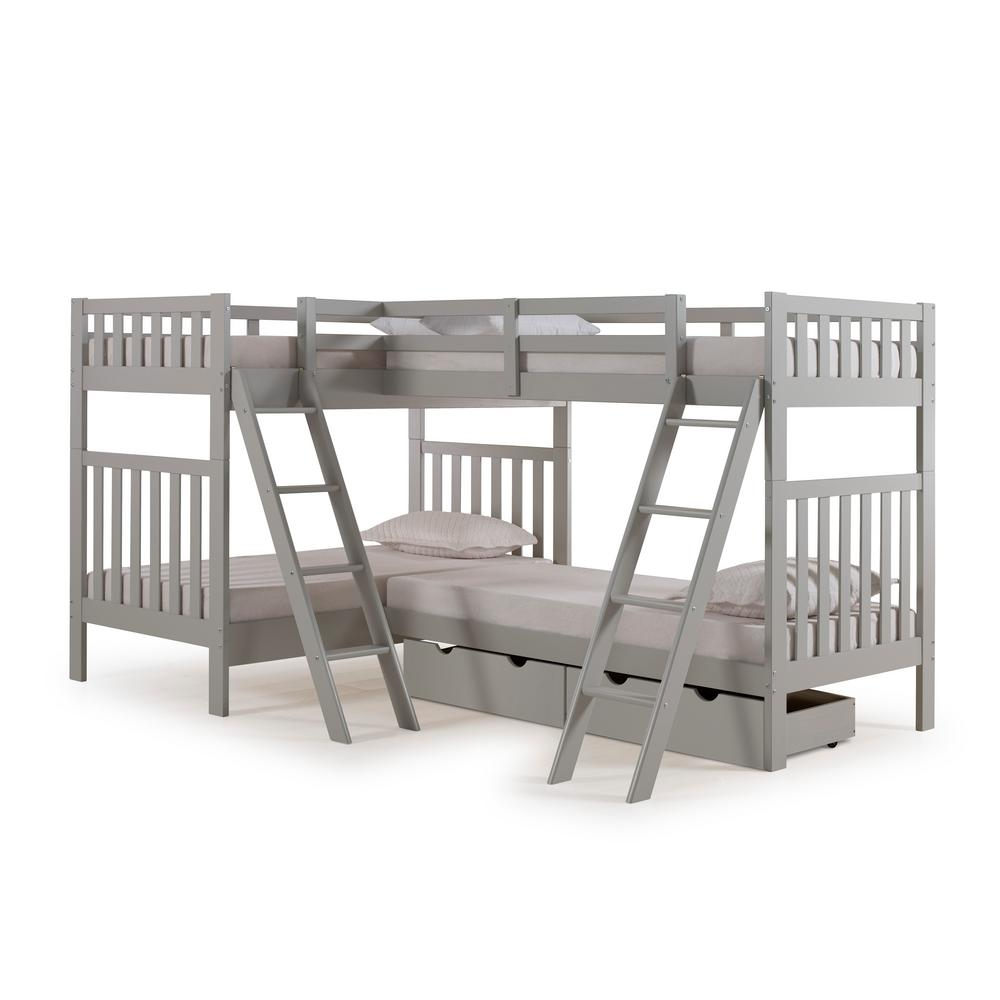Alaterre Furniture Aurora Dove Gray Twin Over Twin Bunk Bed With