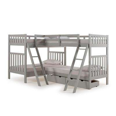 Aurora Dove Gray Twin Over Twin Bunk Bed with Quad-Bunk Extension and Storage Drawers
