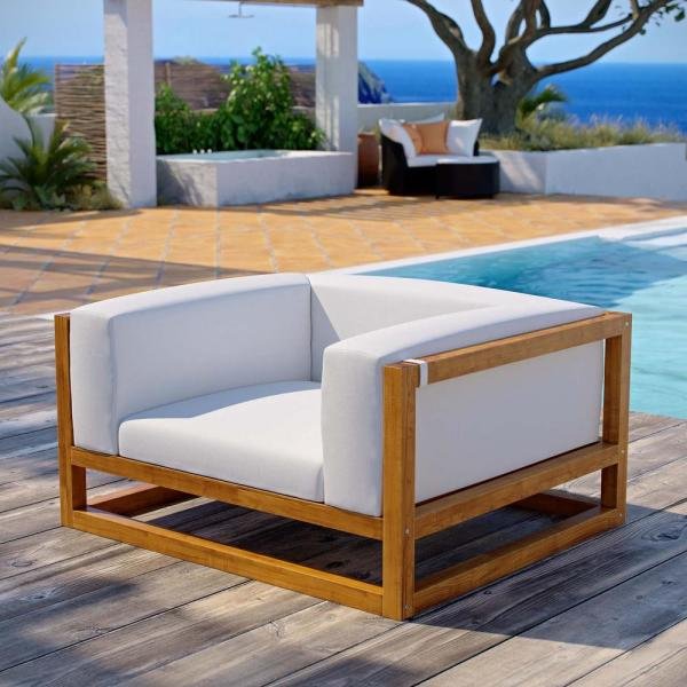 Newbury Natural Teak Wood Lounge Chair  with White Cushions