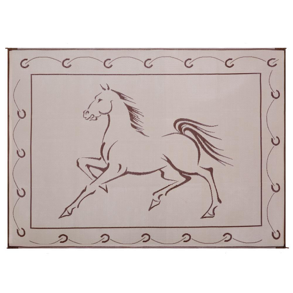 9 ft. x 12 ft. Reversible Mat - Running Horse Brown/Beige