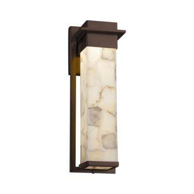 Alabaster Rocks Large Pacific Dark Bronze LED Outdoor Wall Sconce with Alabaster Rocks Shade