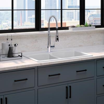 Brookfield All-in-One Drop-In Cast Iron 33 in. Double Bowl Kitchen Sink with Simplice Semi Pro Faucet in Polished Chrome