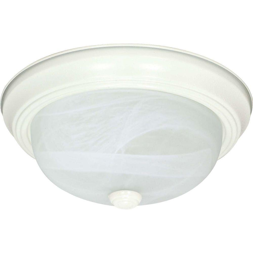 Glomar Elektra 3-Light Textured White Flushmount with Alabaster Glass