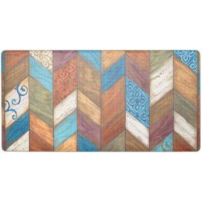 Cook N Comfort Multi Rustic Chevron 20 in. x 39 in. Kitchen Mat