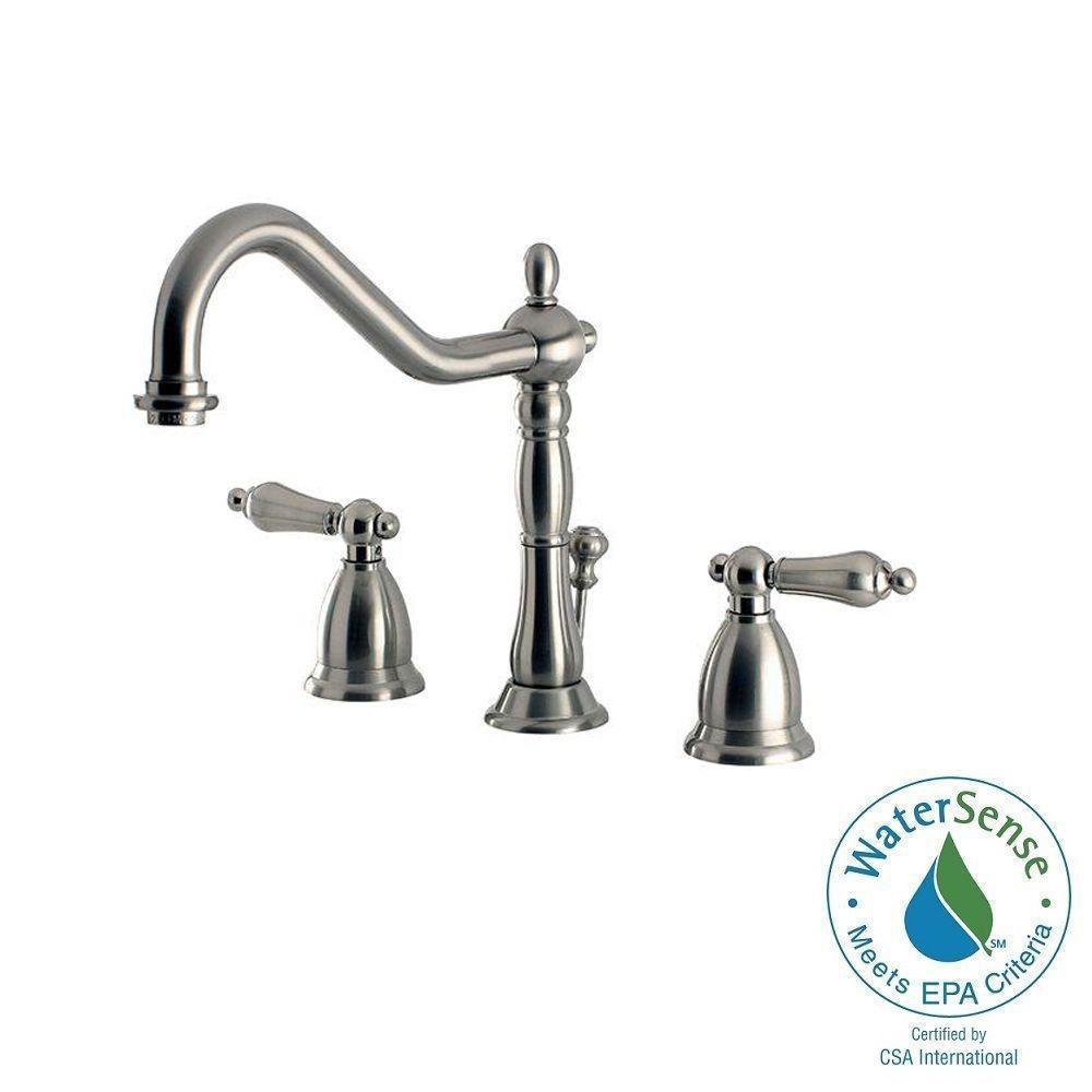 Home Decorators Collection Cedar Cove 8 in. Widespread 2-Handle High-Arc Bathroom Faucet in Satin Nickel