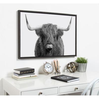 """Sylvie """"B&W Highland Cow No. 1"""" by Amy Peterson Framed Canvas Wall Art"""