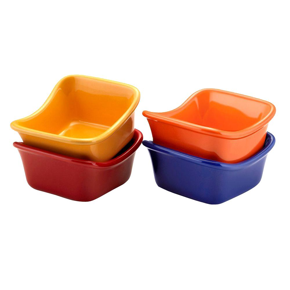 Rachael Ray 3 oz. Square Dipping Cups in Assorted Colors (Set of 4)