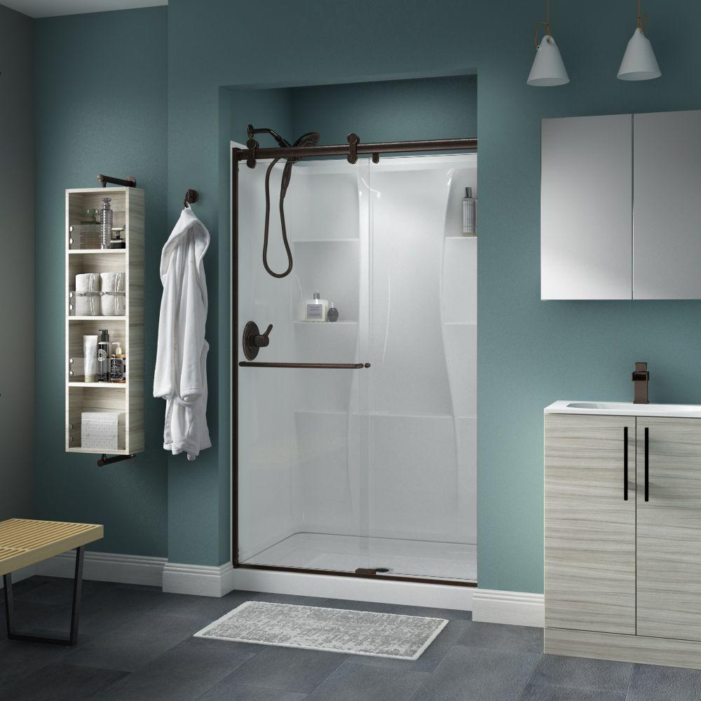 Cool Delta Simplicity 48 X 71 In Frameless Contemporary Sliding Shower Door In Bronze With Clear Glass Beutiful Home Inspiration Semekurdistantinfo