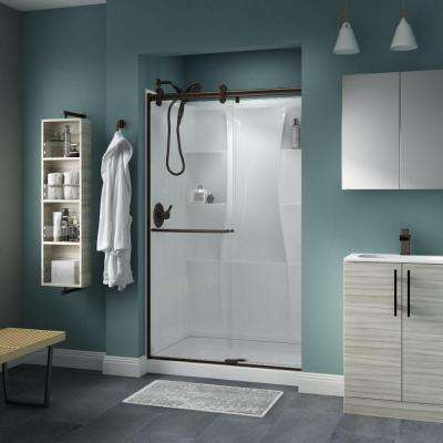 Simplicity 48 in. x 71 in. Semi-Frameless Contemporary Sliding Shower Door in Bronze with Clear Glass