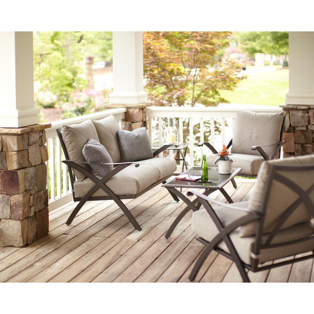 Hampton Bay Marwood 4-Piece Patio Deep Seating Set with Light Gray Cushions-DISCONTINUED