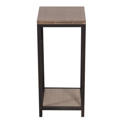 2-Tier Distressed Brush Gray Solid Bamboo Steel Frame Plant Table