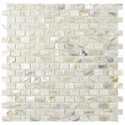 Conchella Subway White 11-3/4 in. x 11-3/4 in. x 2 mm Natural Seashell Mosaic Tile