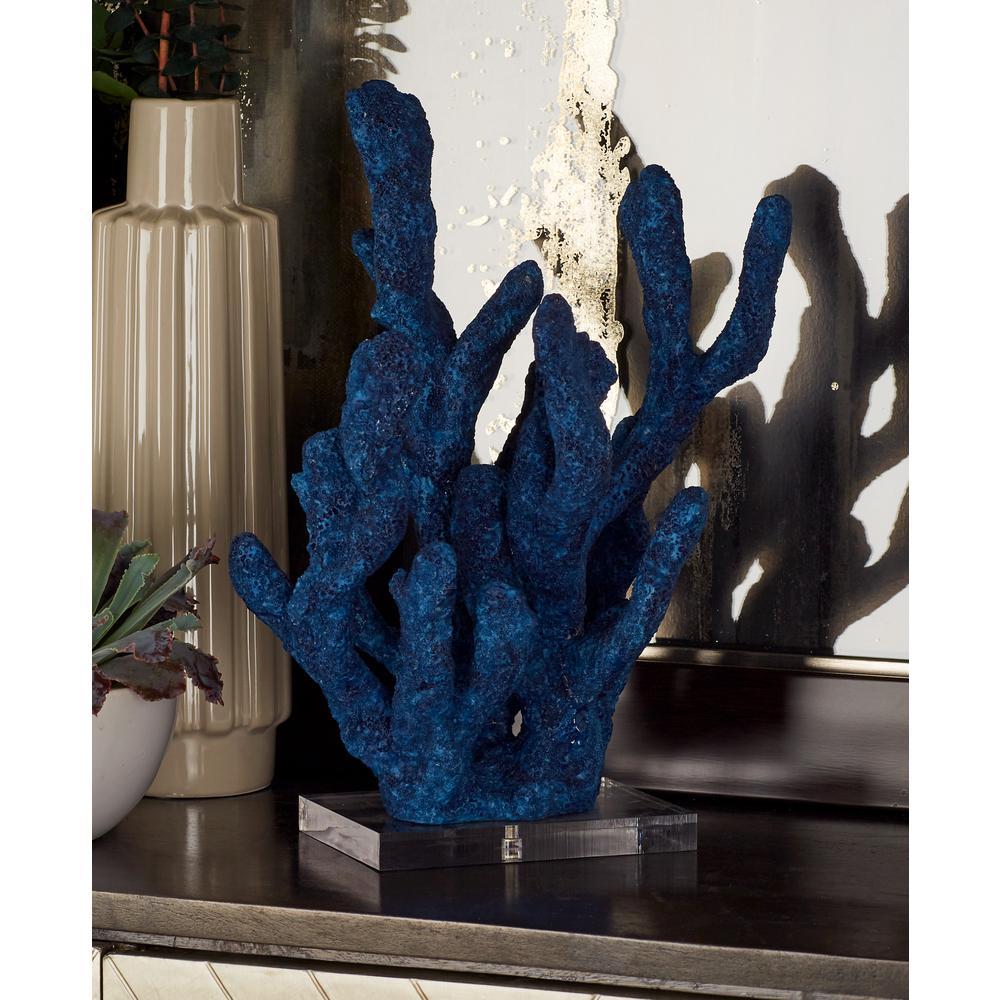 Litton Lane Coral Polystone Sculpture in Indigo
