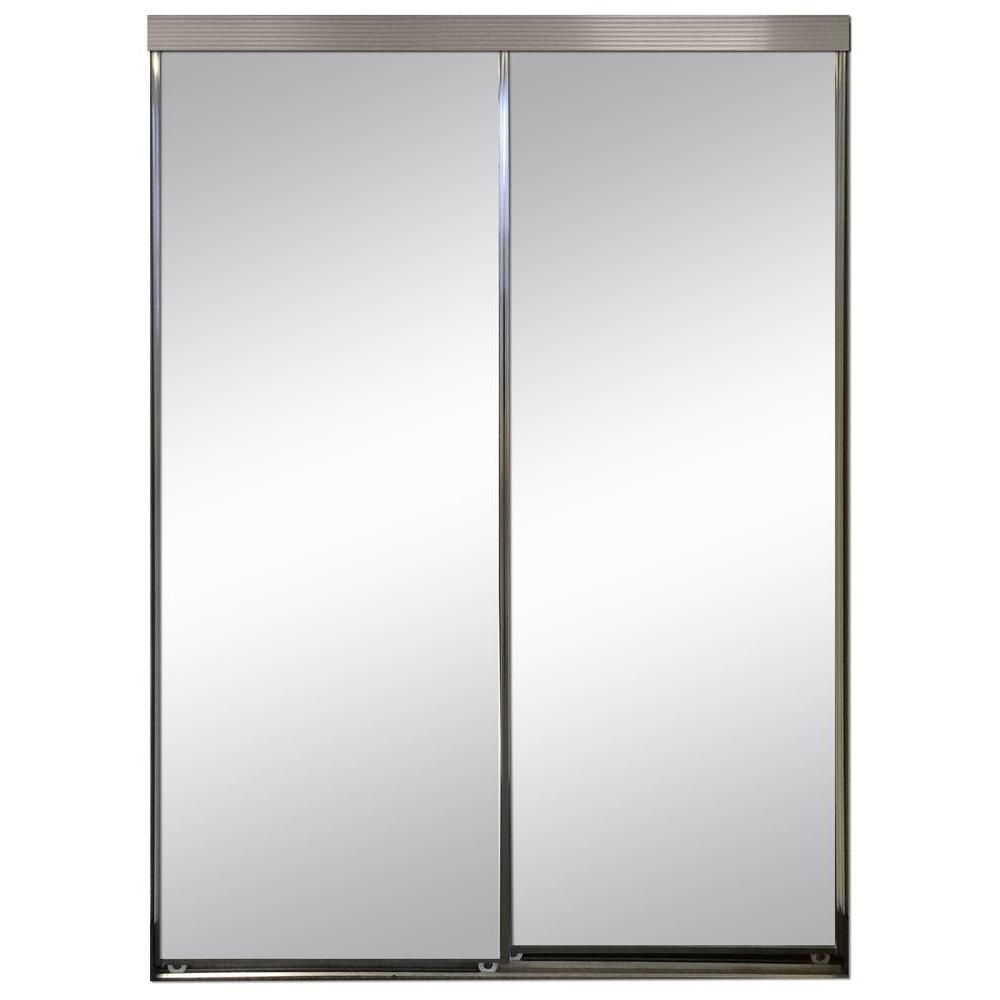 Polished Edge Mirror Framed With Gasket Interior Closet Sliding Door Chrome Trim