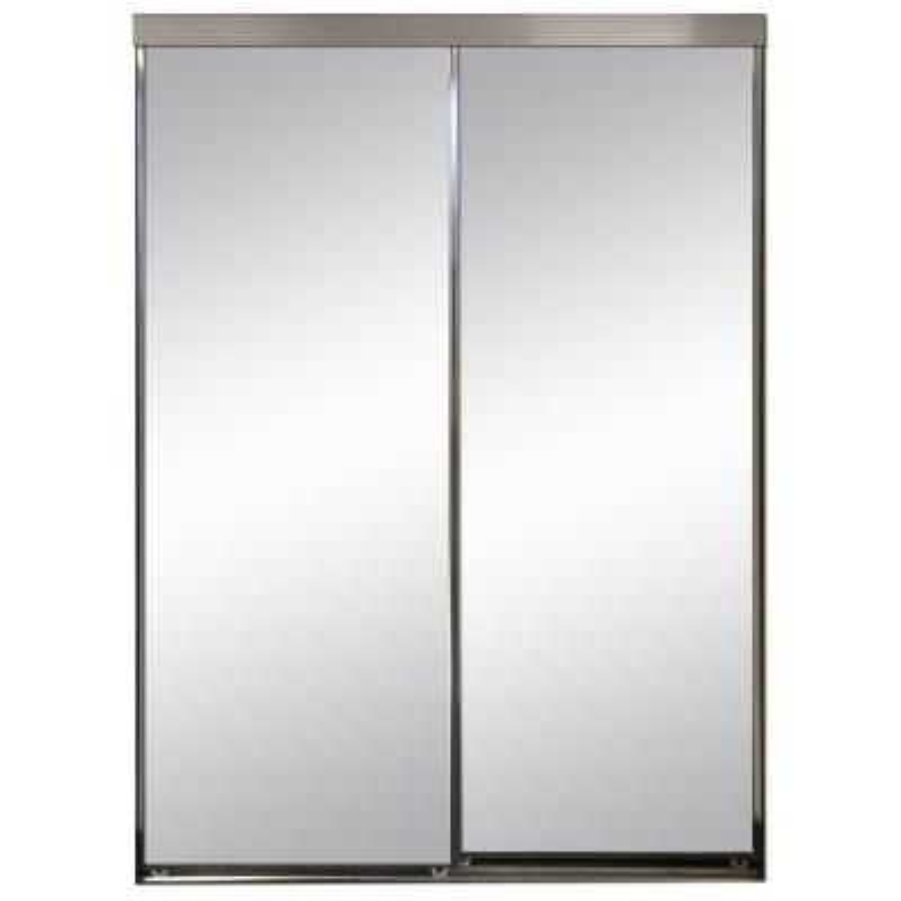 Contractors Wardrobe 48 In X 81 In Concord White Aluminum Frame Mirrored Interior Sliding Door Con 4881whn2r The Home Depot