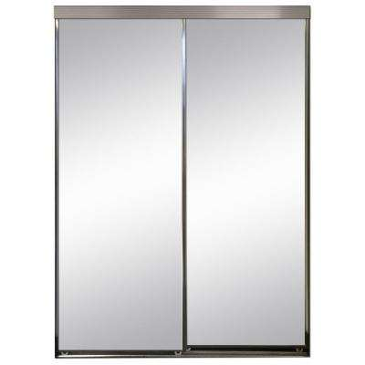 48 in. x 96 in. Polished Edge Mirror Framed with Gasket Interior Closet Aluminum Sliding Door with Chrome Trim