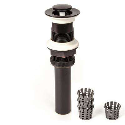DecoDRAIN Push Closing (Flushed Cap) Pop-Up Drain with Hair Catcher, Plated ABS Body with Overflow in Oil Rubbed Bronze