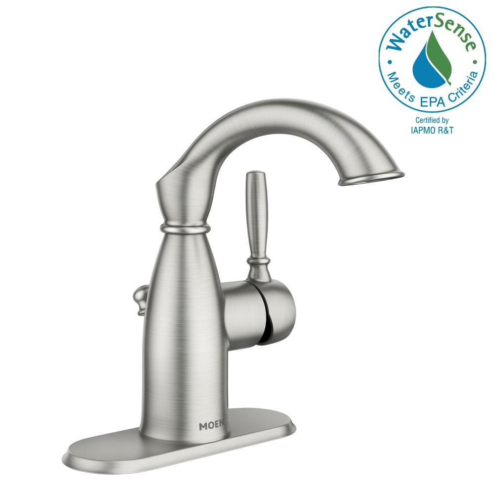 Moen Sarona 4 In Centerset Single Handle Bathroom Faucet In Spot Resist Brushed Nickel 84144srn