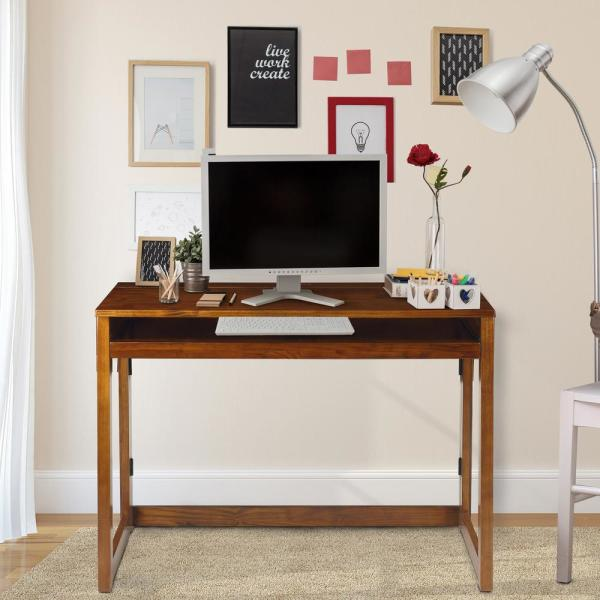Casual Home Warm Brown Folding Desk