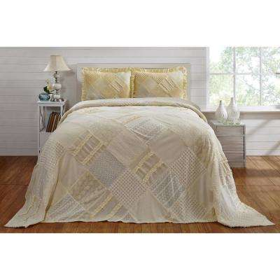 Ruffle Chenille 81 in. x 110 in. Twin bed spread yellow
