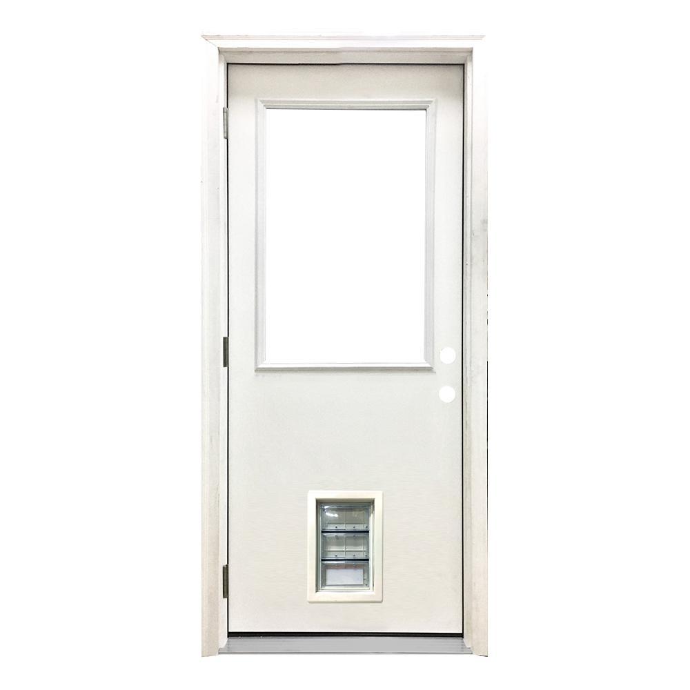 30 in. x 80 in. Classic Clear Half Lite RHOS White Primed Fiberglass Prehung Front Door with Med Pet Door