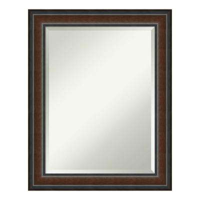 Cyprus Walnut Wood 23 in. x 29 in. Traditional Bathroom Vanity Mirror