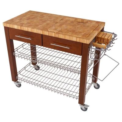 Chef Series Espresso Kitchen Work Station with Chop and Drop Wire Basket Shelves