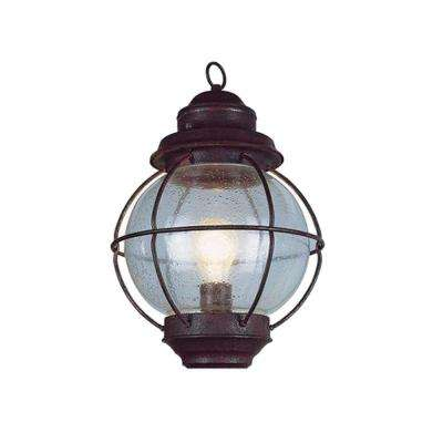 Lighthouse 1-Light Outdoor Hanging Rustic Bronze Lantern with Seeded Glass