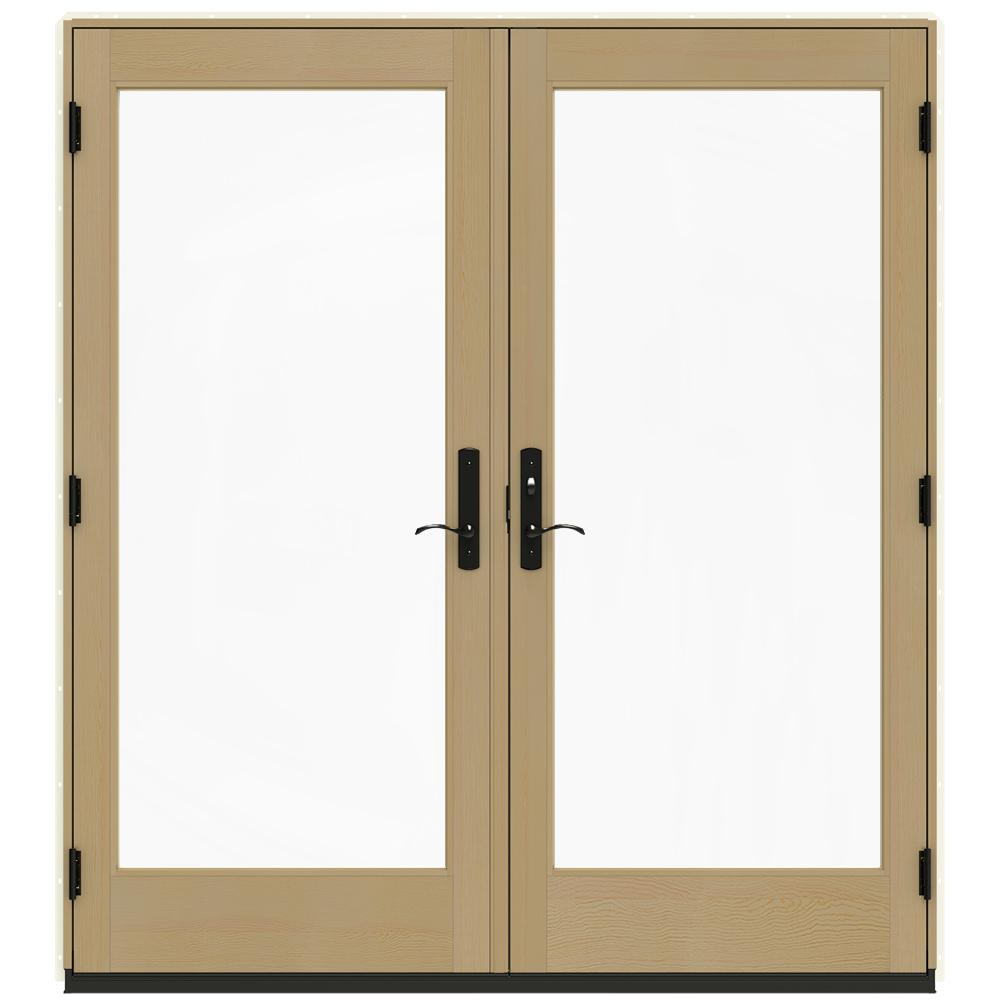 Jeld wen 72 in x 80 in w 4500 vanilla clad wood left for Wood french patio doors