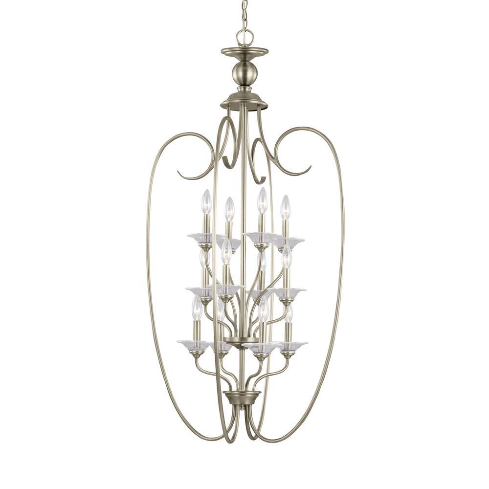 Lemont 12-Light Antique Brushed Nickel Hall-Foyer Pendant