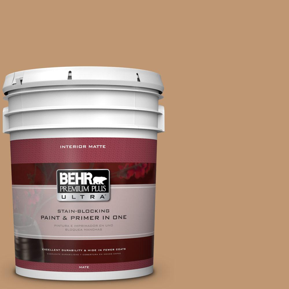 BEHR Premium Plus Ultra 5 gal. #270F-5 Wilmington Tan Flat/Matte Interior Paint
