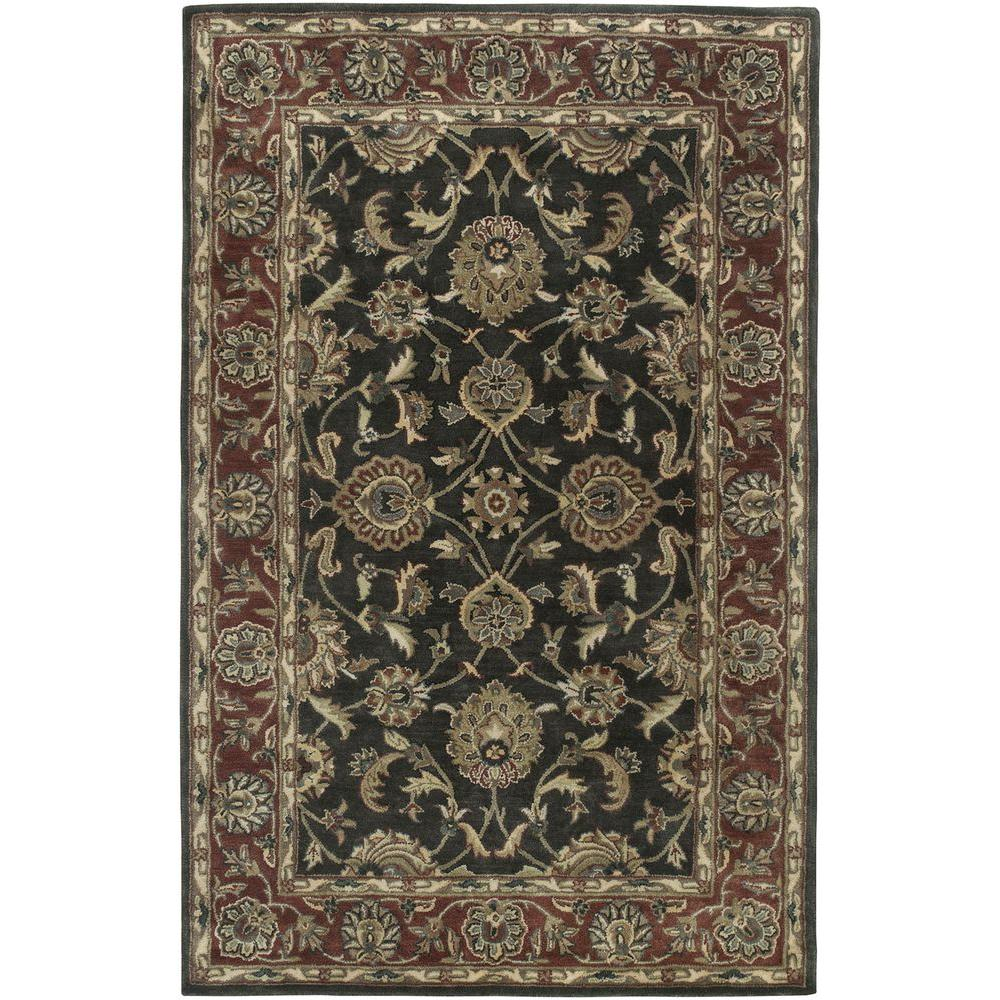 LR Resources Heritage Charcoal/Rust 7 ft. 9 in. x 9 ft. 9 in. Traditional Indoor Area Rug