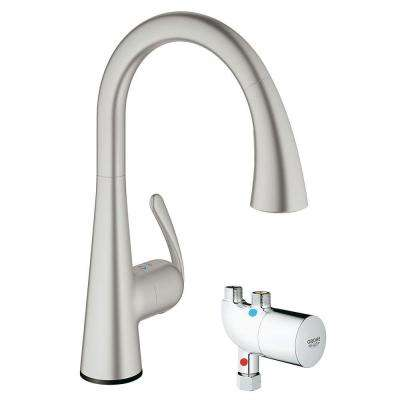 Perfect LadyLux Cafe Touch Single Handle Pull Down Sprayer Kitchen Faucet With  GrohTherm Micro In