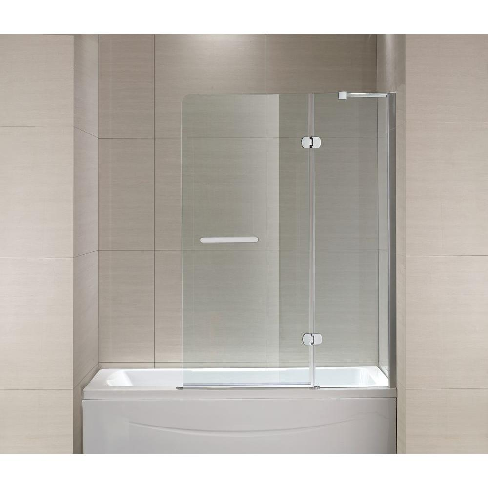 Schon Mia 40 in. x 55 in. Semi-Framed Hinge Tub and Shower Door in Chrome and Clear Glass