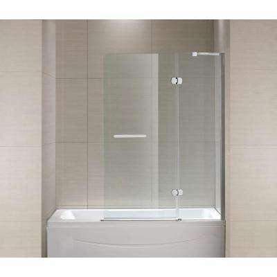 Mia 40 in. x 55 in. Semi-Framed Hinge Tub and Shower Door in Chrome and Clear Glass