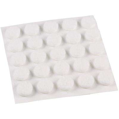 3/8 in Med Duty White Felt Pads (75-Pack)