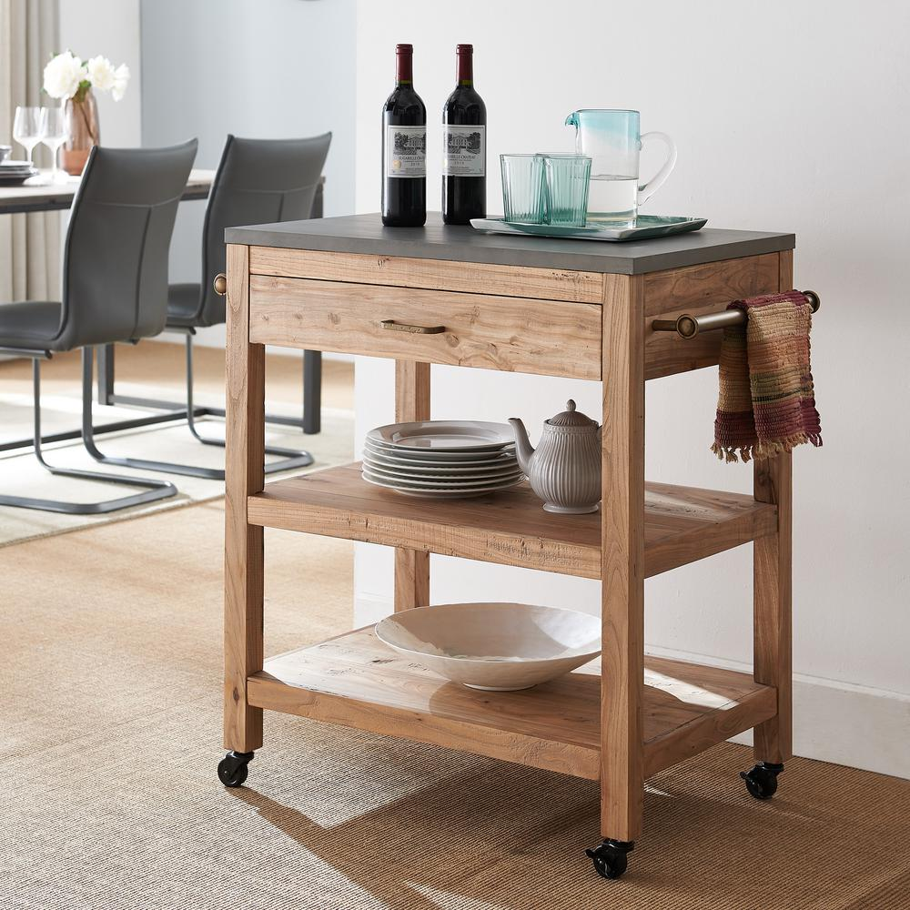 Southern Enterprises Marina Natural Reclaimed And Gray Cement Rolling Kitchen Island With Storage Hd434056 The Home Depot