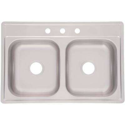 Essentials Deep Drop-in Stainless Steel 33 in. 3-Hole 50/50 Double Bowl Kitchen Sink in Satin Stainless Steel