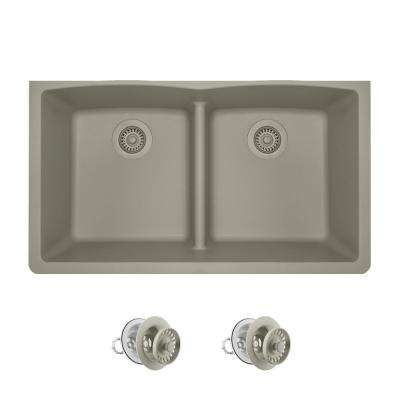All-in-One Undermount Kitchen Sink Composite Granite 33 in. Low-Divide Equal Double Basin in Slate